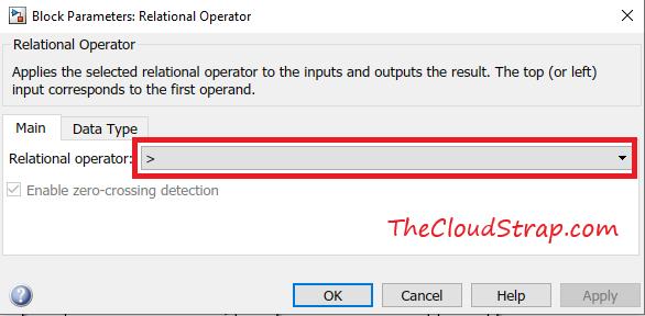 Relational Operator setting