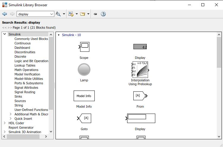 Simulink Model - Display Block