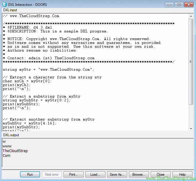 4.3 DOORS DXL Tutorial Output