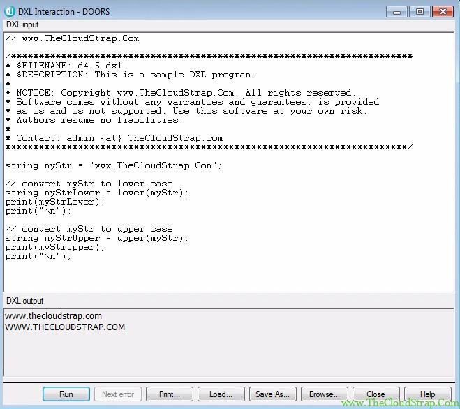 4.5 DOORS DXL Tutorial Output