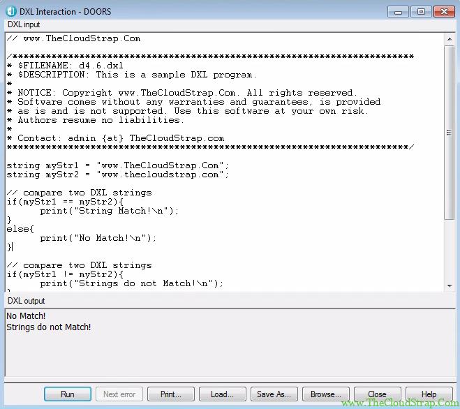 4.6 DOORS DXL Tutorial Output