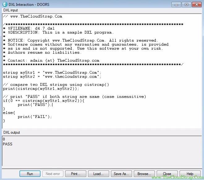 4.7 DOORS DXL Tutorial Output