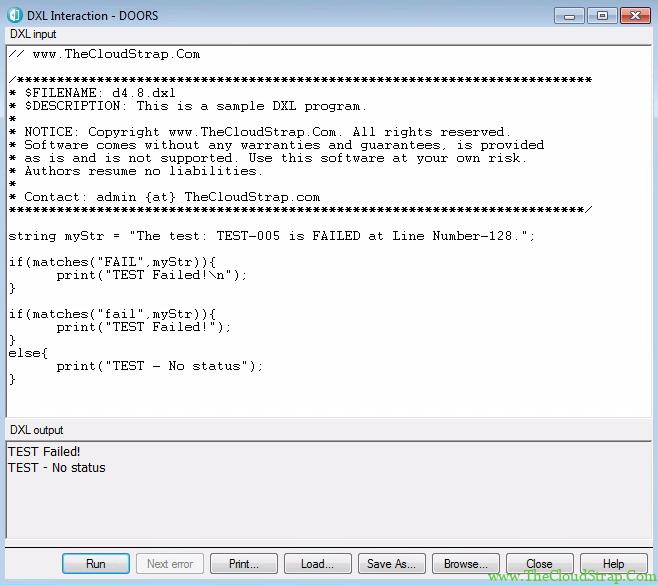 4.8 DOORS DXL Tutorial Output