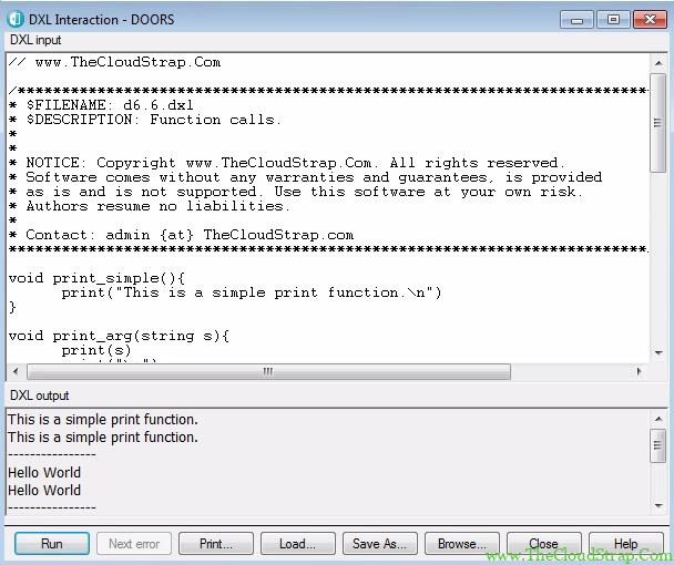 DOORS DXL Function 6.6